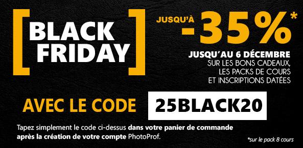 Black Friday 2020 sur les cours de photographie PhotoProf
